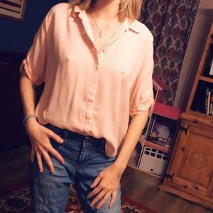 Peach button up shirt